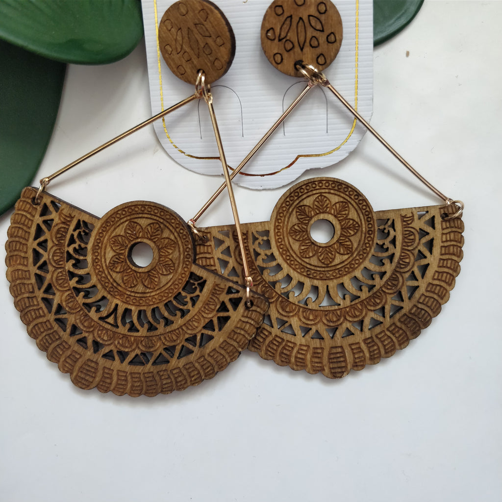 Wood Carved Earrings