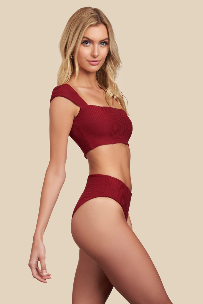 Chloe Top - (Rib Ruby/Rib Bellini)