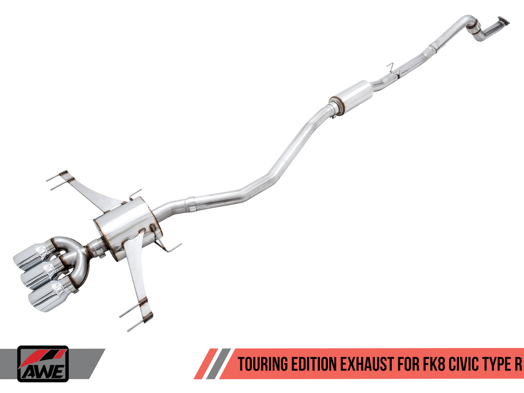 AWE Touring Edition Exhaust (Triple Chrome Silver Tips) - Honda Civic Type-R FK8 - Kaiju Motorsports