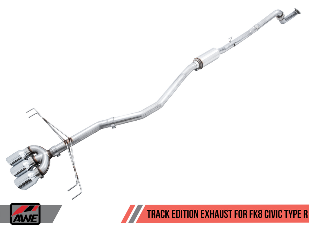 AWE Track Edition Exhaust (Triple Chrome Silver Tips) - Honda Civic Type-R FK8 - Kaiju Motorsports