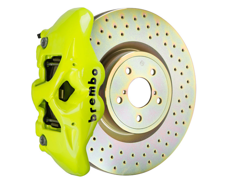 Brembo GT Monobloc 4 Piston 326mm Drilled Fluorescent Yellow (Front) - Subaru WRX VA - Kaiju Motorsports