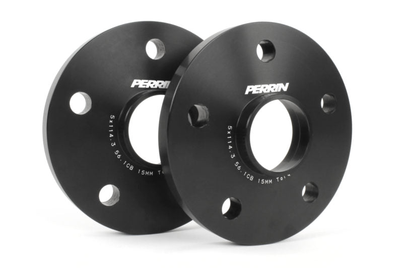 Perrin Wheel Spacers 15mm 5x114.3 Black Pair - Subaru STI/WRX - Kaiju Motorsports