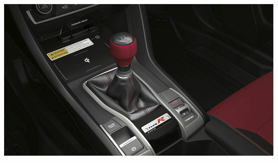 Honda Red Leather Black Alumite Shift Knob (6-Speed) - Honda Civic Type-R FK8 - Kaiju Motorsports