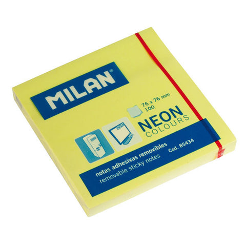 Milan post-it neon 75x75 mm gul