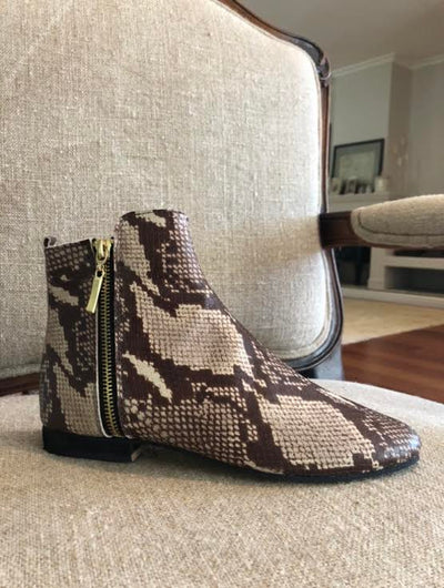 Minki Snakeprint Leather Ankle Boot