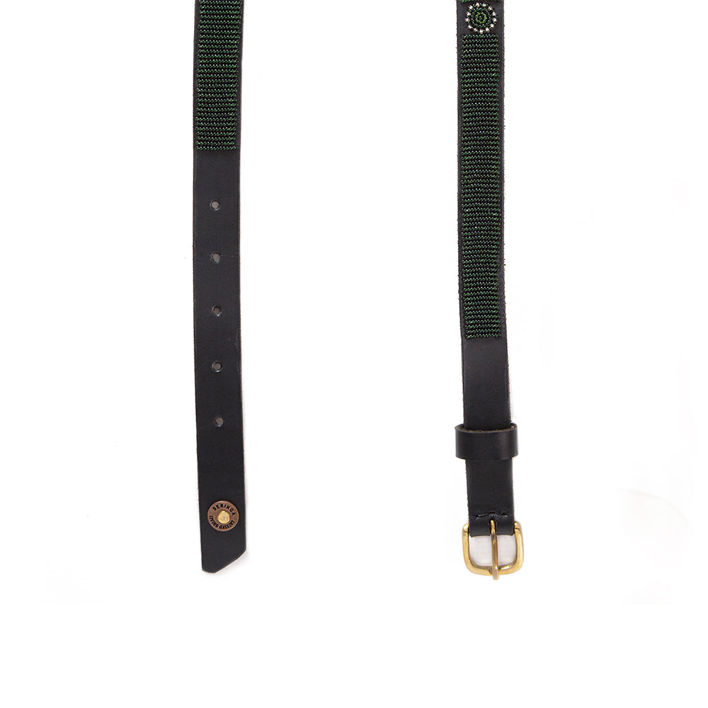 Forest Green Beaded Leather Belt