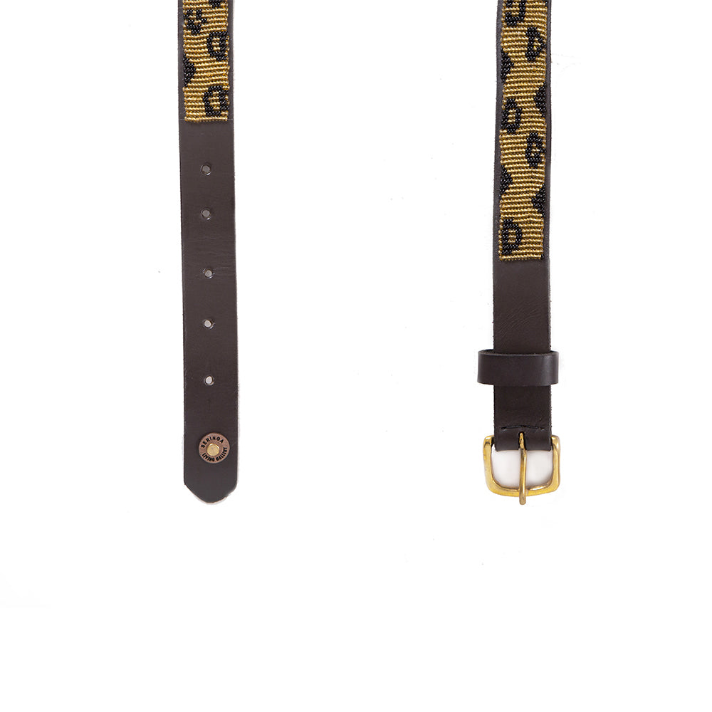 Animal Print Beaded Leather Belt
