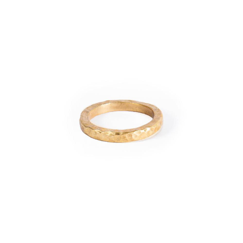 Slim Brass Beaten Ring