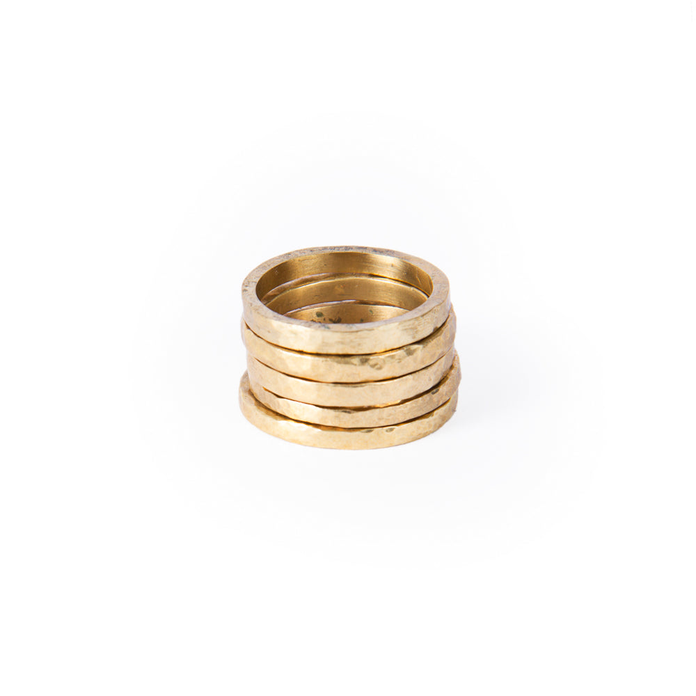 Slim Brass Beaten Ring - Seringa