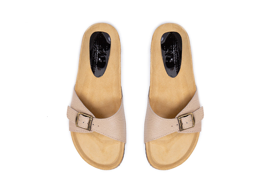 Greta Slides - Nude snake print leather