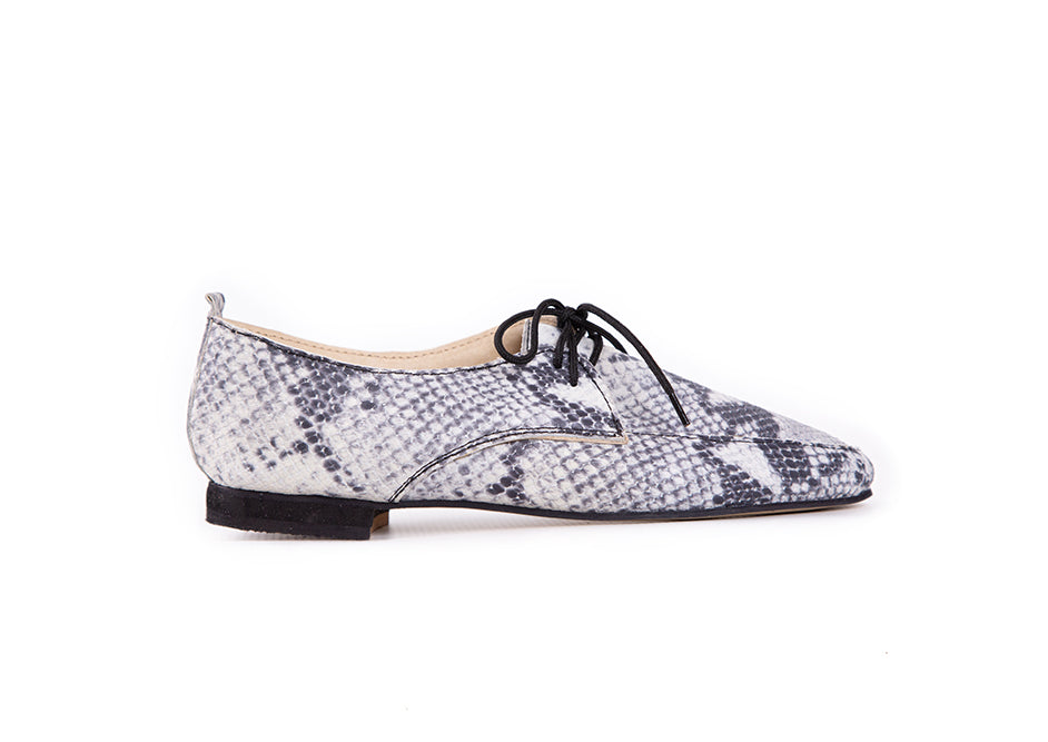 brogue snakeprint leather