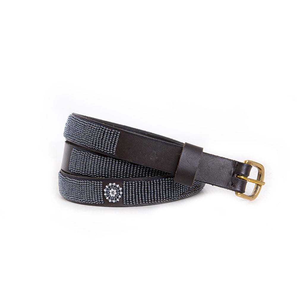 Pewter Beaded Leather Belt