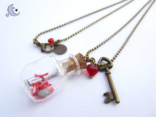 Message in a bottle necklace. Mini pendant