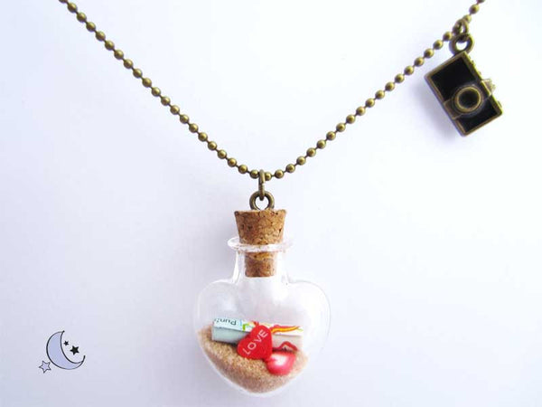 Message in a bottle necklace. Mini heart glass pendant.