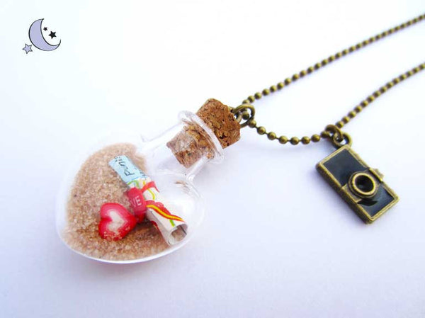Mini bottle charm. Message in a bottle necklace.
