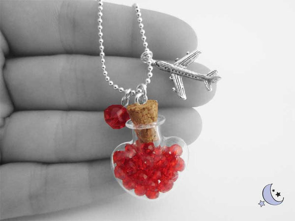 Miniature glass bottle necklace. Heart necklace. Red rhinestones