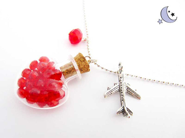 Mini bottle pendant. Red charm. Art necklace