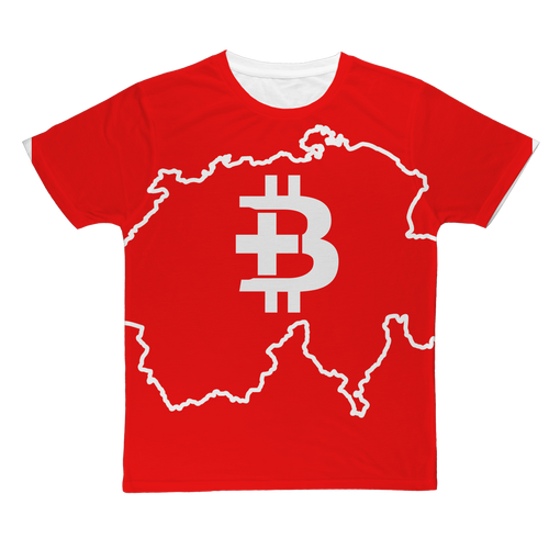 👕 Bitcoin Schweiz mit Logo und Landkarte Classic Sublimation Adult T-Shirt - Best Bitcoin Shirt Shop für Deutschland, Österreich, Schweiz. Top Qualität, 3-5 Tage geliefert und Krypto, Paypal Zahlung