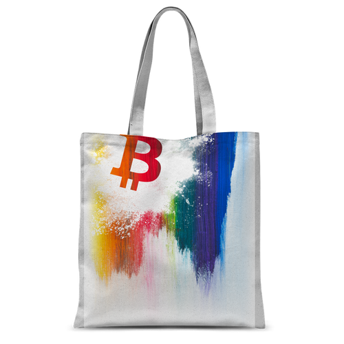 👕 Bitcoin Splash painted Classic Sublimation Tote Bag - Best Bitcoin Shirt Shop für Deutschland, Österreich, Schweiz. Top Qualität, 3-5 Tage geliefert und Krypto, Paypal Zahlung