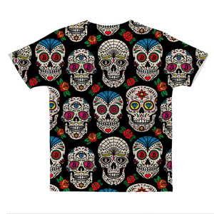 👕 Bitcoin Sugar Skull Classic Sublimation Adult T-Shirt - Best Bitcoin Shirt Shop für Deutschland, Österreich, Schweiz. Top Qualität, 3-5 Tage geliefert und Krypto, Paypal Zahlung