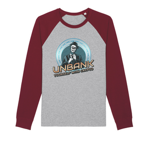 👕 Unbank yourself Organic Raglan Long Sleeve Shirt - Best Bitcoin Shirt Shop für Deutschland, Österreich, Schweiz. Top Qualität, 3-5 Tage geliefert und Krypto, Paypal Zahlung