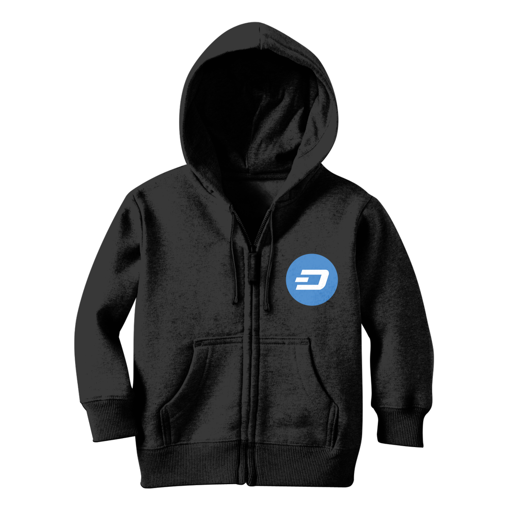 👕 Dash Logo Merch Crypto Classic Kids Zip Hoodie - Best Bitcoin Shirt Shop für Deutschland, Österreich, Schweiz. Top Qualität, 3-5 Tage geliefert und Krypto, Paypal Zahlung