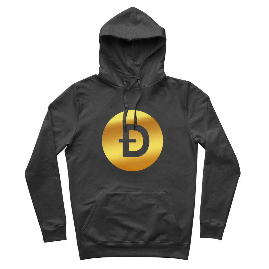 👕 Dogecoin Logo Crypto Merch Premium Adult Hoodie - Best Bitcoin Shirt Shop für Deutschland, Österreich, Schweiz. Top Qualität, 3-5 Tage geliefert und Krypto, Paypal Zahlung