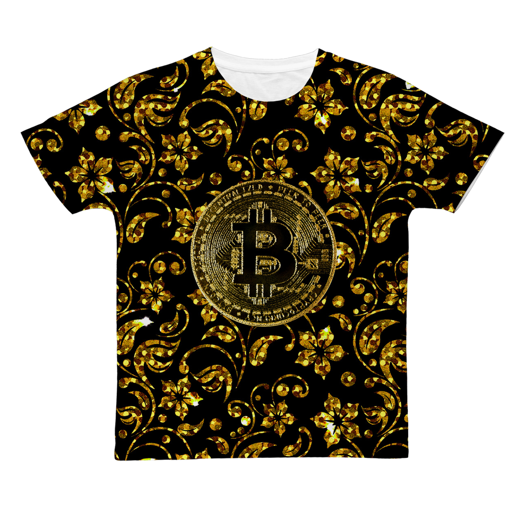 👕 Bitcoin luxus Muster Classic Sublimation Adult T-Shirt - Best Bitcoin Shirt Shop für Deutschland, Österreich, Schweiz. Top Qualität, 3-5 Tage geliefert und Krypto, Paypal Zahlung