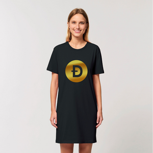 👕 Dogecoin Logo Crypto Merch Organic T-Shirt Dress - Best Bitcoin Shirt Shop für Deutschland, Österreich, Schweiz. Top Qualität, 3-5 Tage geliefert und Krypto, Paypal Zahlung
