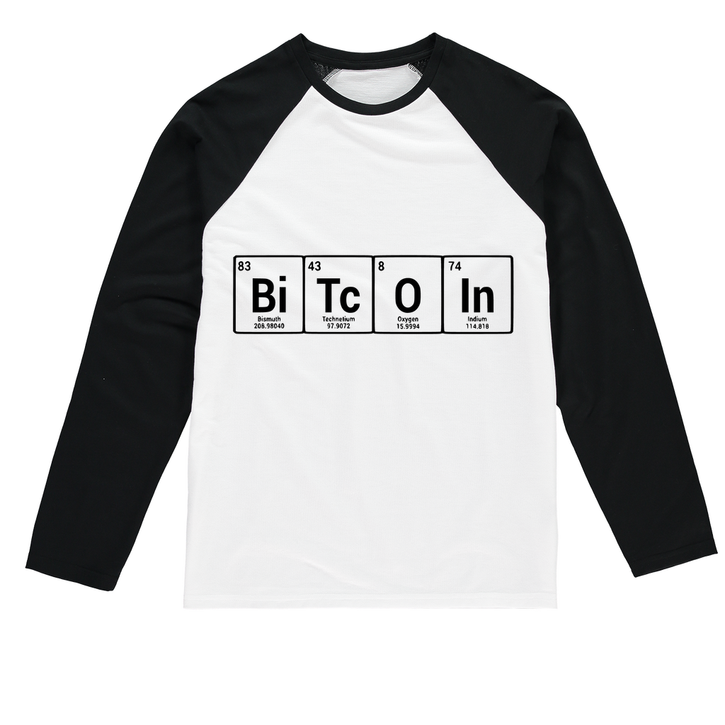 👕 Bitcoin Periodic Table Sublimation Baseball Long Sleeve T-Shirt - Best Bitcoin Shirt Shop für Deutschland, Österreich, Schweiz. Top Qualität, 3-5 Tage geliefert und Krypto, Paypal Zahlung