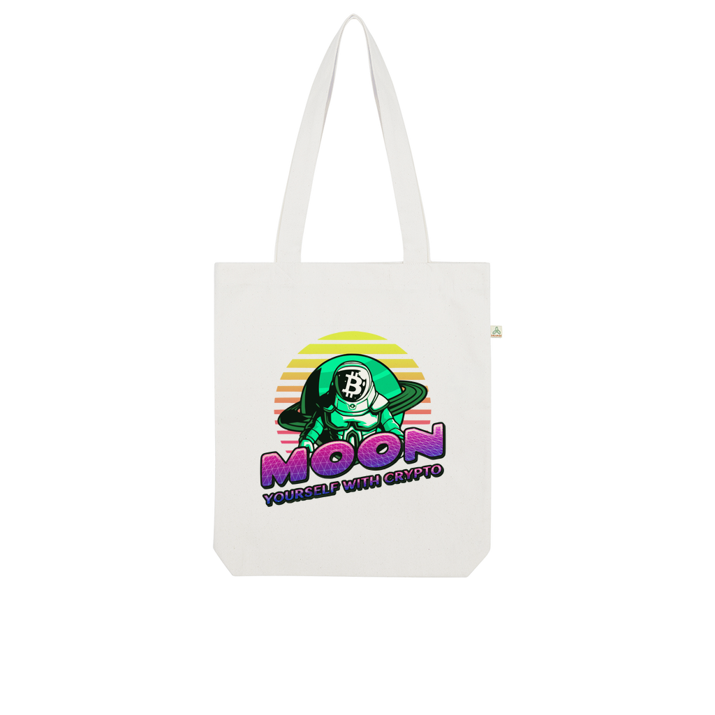 👕 Moon yourself with crypto Organic Tote Bag - Best Bitcoin Shirt Shop für Deutschland, Österreich, Schweiz. Top Qualität, 3-5 Tage geliefert und Krypto, Paypal Zahlung