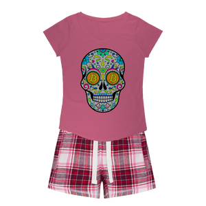 👕 Bitcoin Sugar Skull Girls Sleepy Tee and Flannel Short - Best Bitcoin Shirt Shop für Deutschland, Österreich, Schweiz. Top Qualität, 3-5 Tage geliefert und Krypto, Paypal Zahlung