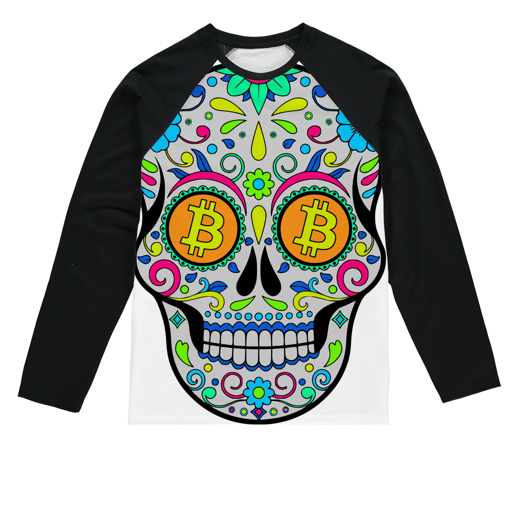 👕 Bitcoin Sugar Skull Sublimation Baseball Long Sleeve T-Shirt - Best Bitcoin Shirt Shop für Deutschland, Österreich, Schweiz. Top Qualität, 3-5 Tage geliefert und Krypto, Paypal Zahlung