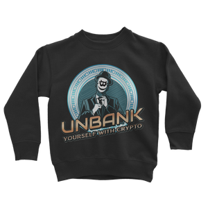 👕 Unbank yourself Classic Kids Sweatshirt - Best Bitcoin Shirt Shop für Deutschland, Österreich, Schweiz. Top Qualität, 3-5 Tage geliefert und Krypto, Paypal Zahlung