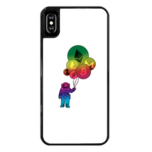 👕 Astronaut hält Krypto Ballone Back Printed Black Hard Phone Case - Best Bitcoin Shirt Shop für Deutschland, Österreich, Schweiz. Top Qualität, 3-5 Tage geliefert und Krypto, Paypal Zahlung