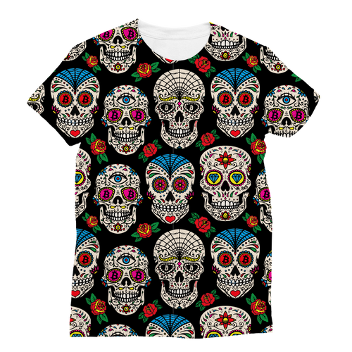 👕 Bitcoin Sugar Skull Classic Sublimation Women's T-Shirt - Best Bitcoin Shirt Shop für Deutschland, Österreich, Schweiz. Top Qualität, 3-5 Tage geliefert und Krypto, Paypal Zahlung