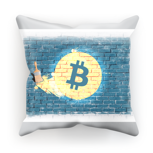 👕 Bitcoin auf blauer Mauer Sublimation Cushion Cover - Best Bitcoin Shirt Shop für Deutschland, Österreich, Schweiz. Top Qualität, 3-5 Tage geliefert und Krypto, Paypal Zahlung