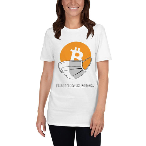 🖋️ Bitcoin Shirt mit Maske. Kurzarm-Unisex-T-Shirt (Eigener Text?) - Bitcoin Shirt Shop