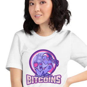 "👕 Short Sleeve Unisex Shirt ""Love me or my Bitcoins"" Kurzärmeliges Unisex-T-Shirt - Best Bitcoin Shirt Shop für Deutschland, Österreich, Schweiz. Top Qualität, 3-5 Tage geliefert und Krypto, Paypal Zahlung"