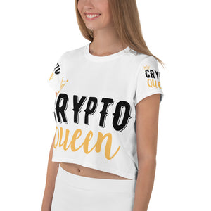 👕 TShirt Crypto Queen - All-Over Print Crop Tee - Best Bitcoin Shirt Shop für Deutschland, Österreich, Schweiz. Top Qualität, 3-5 Tage geliefert und Krypto, Paypal Zahlung
