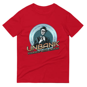 👕 Kurzärmeliges UNBANK yourself T-shirt - Best Bitcoin Shirt Shop für Deutschland, Österreich, Schweiz. Top Qualität, 3-5 Tage geliefert und Krypto, Paypal Zahlung