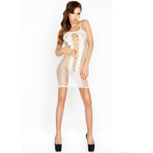 PASSION WOMAN BS027 BODYSTOCKING ESTILO VESTIDO BLANCO TALLA UNICA
