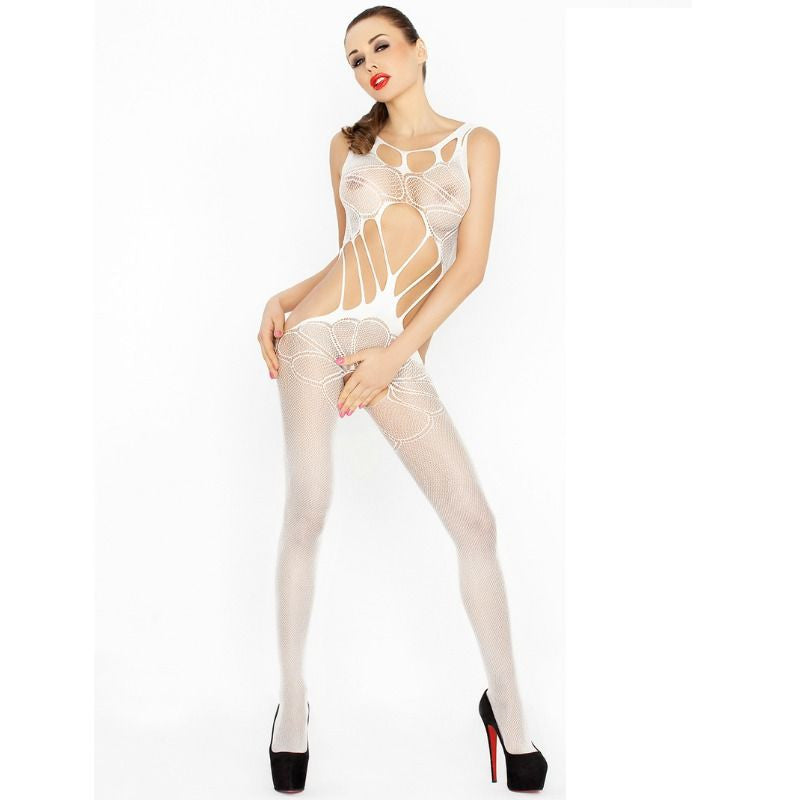 PASSION WOMAN BS030 BODYSTOCKING BLANCO TALLA UNICA