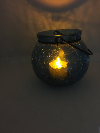Stunning Global Crackle Glass Candle Holder For Decor