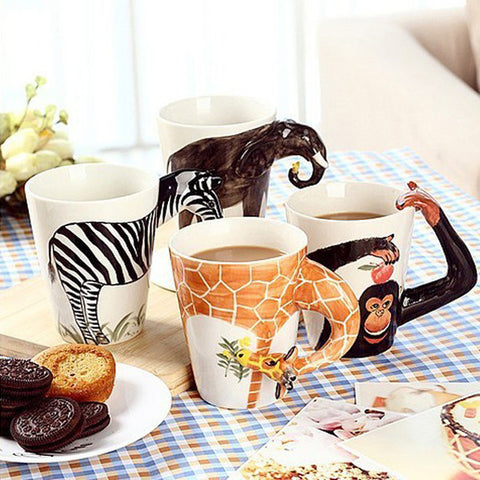 3D Animal Series Painted Coffee Mug