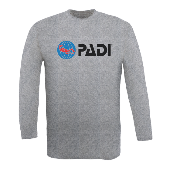 Men's Long Sleeve PADI Tee - Heather Grey