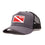 Diver Down Trucker Hat Dark Grey with Red/White Flag