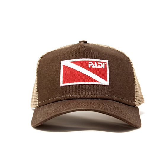 Diver Down Trucker Hat Dark Brown Camo with Red/White Flag
