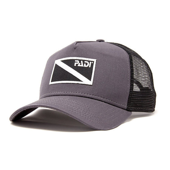 Diver Down Trucker Hat Dark Grey with Black/White Flag