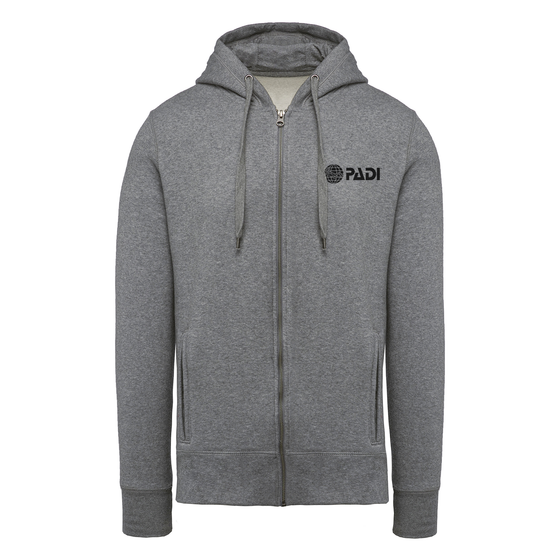 PADI Globe Full Zip Hoodie - Heather Grey